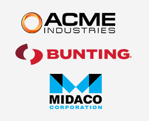 Acme Industries, Bunting, and Midaco Logos